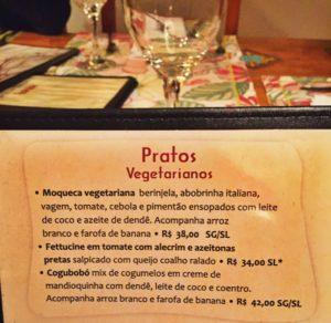 Moqueca vegetariana e Cogubobó: os pratos veganos.